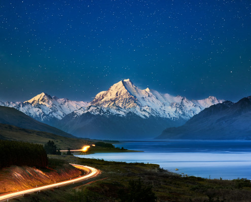 Towards the stars, Mt. Cook, Aoraki, New Zealand, South Island